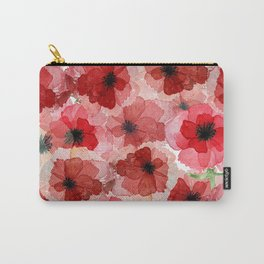 Pressed Poppy Blossom Pattern Carry-All Pouch