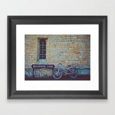 Bike, Wall and Window- Oxford, England Framed Art Print
