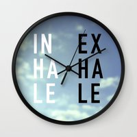 2pac Wall Clocks featuring Inhale Exhale by Text Guy