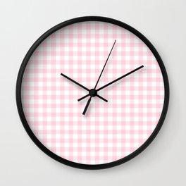 Light Soft Pastel Pink Cowgirl Buffalo Check Plaid Wall Clock