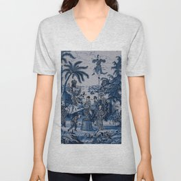 17th Century Delftware Chinoiserie Unisex V-Neck