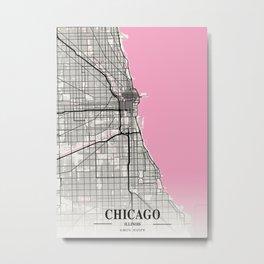 Chicago - Illinois Neapolitan City Map Metal Print