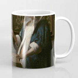 Woman Holding a Balance Oil Painting by Johannes Vermeer Coffee Mug