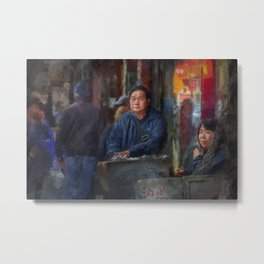 NYC Chinatown Illustration Oil Painting Acrylic Art New York City Decor Streets Brooklyn Manhattan Metal Print