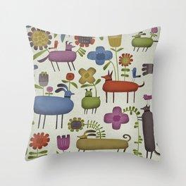 DOG GARDEN Throw Pillow