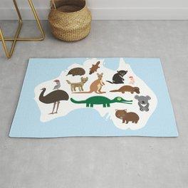 map of Australia. Echidna Platypus Emu Tasmanian devil Cockatoo Wombat crocodile kangaroo dingo Rug