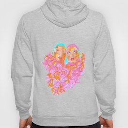 Pink Ladies blue hair pink boa gemini twins Hoody