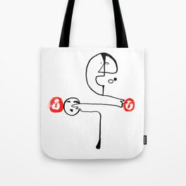 Man Pointing to Heads Tote Bag