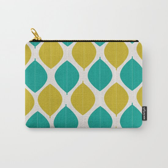 TEAL AND GREEN LEAVES Carry-All Pouch