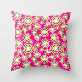 Circles on pink background Throw Pillow