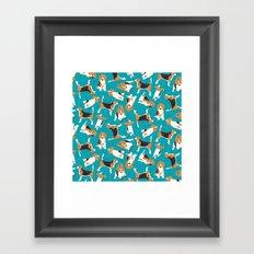 beagle scatter blue Framed Art Print