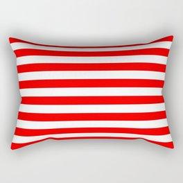 Horizontal Stripes (Red/White) Rectangular Pillow