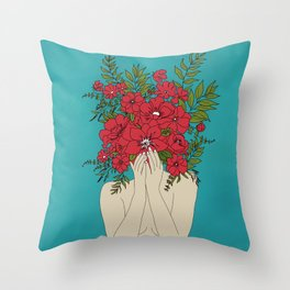 Blooming Red Throw Pillow