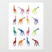 giraffes Art Prints featuring Giraffes by emegi