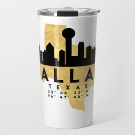 DALLAS TEXAS SILHOUETTE SKYLINE MAP ART Travel Mug