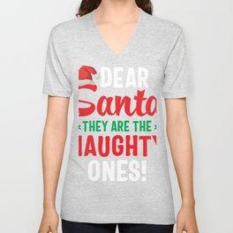 Dear Santa They Are Naughty Unisex V-Neck