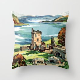 Loch Ness Vintage Travel Poster Throw Pillow