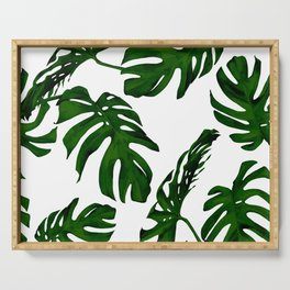 Simply Tropical Palm Leaves in Jungle Green Serving Tray