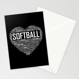 Softball Heart Love Stationery Cards