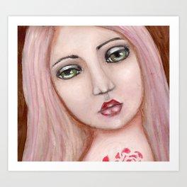 Mixed Media Girl Art Print