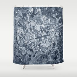 Abstract black painting Shower Curtain