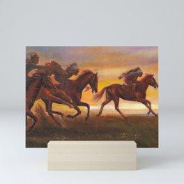 American Natives Riding On Horses Mini Art Print