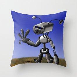 Mr Robo Throw Pillow