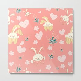 Easter Rag Bunny - heart, tulip and pink kids Metal Print