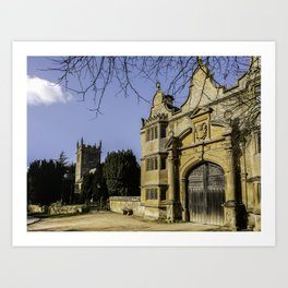 Cotswold Gatehouse & Church. Art Print