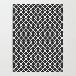 Charcoal Gray Diamond Pattern Poster
