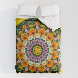 Tulips Dreams, Flower mandala, Floral mandala-style Comforters