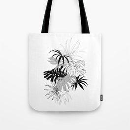 Monochrome Tropical Leaves Tote Bag
