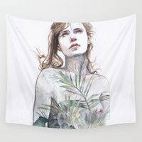 breathe Wall Tapestries featuring Breathe in, breathe out by agnes-cecile