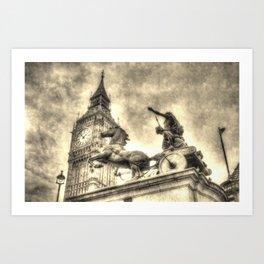 Big Ben and the Boadicea Statue Vintage Art Print