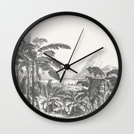 Palms and Mountain Wall Clock