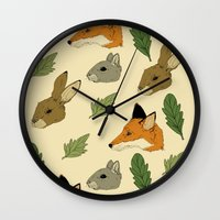 woodland Wall Clocks featuring woodland by Melrose Illustrations