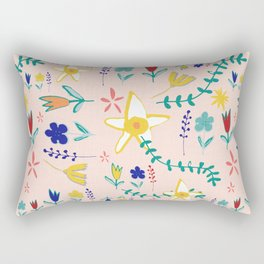 Floral The Tortoise and the Hare is one of Aesop Fables pink Rectangular Pillow