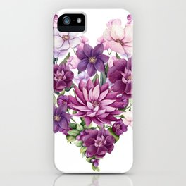Floral Heart of Watercolor Pink and Maroon Flowers, Berries and Leave iPhone Case