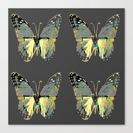 CHARCOAL GREY WESTERN STYLE BUTTERFLIES Canvas Print