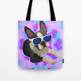 Black Boston Terrier Watercolor Tote Bag