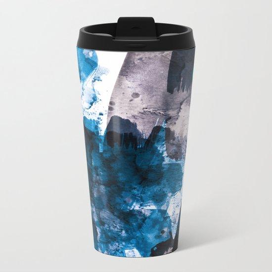 blue & mauve Metal Travel Mug