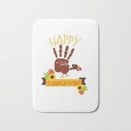 Hand Print Turkey Cute Happy Thanksgiving Bath Mat