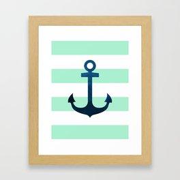 Anchor on Mint Stripes Framed Art Print