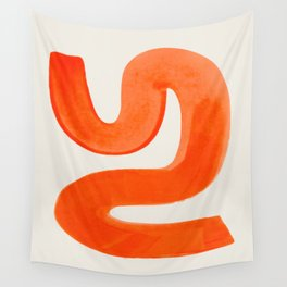Mid Century Modern Abstract Minimalist Abstract Vintage Retro Orange Watercolor Brush Strokes Wall Tapestry
