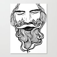 beard Canvas Prints featuring Beard  by Holly Harper