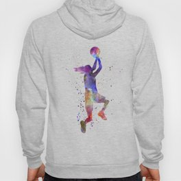 Young woman basketball player 05 in watercolor Hoody