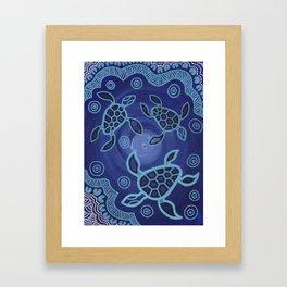 Aboriginal Art Authentic - Sea Turtles Framed Art Print