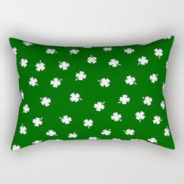 White Shamrocks Green Background Rectangular Pillow