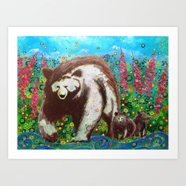 Grizzly Sow and Cubs Art Print