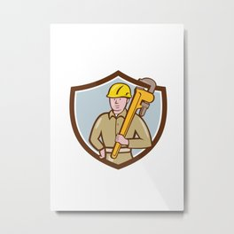 Plumber Holding Wrench Crest Cartoon Metal Print